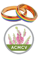 Marriage Celebrant Albury Wodonga - Rings for ceremony and ACMCV Logo.